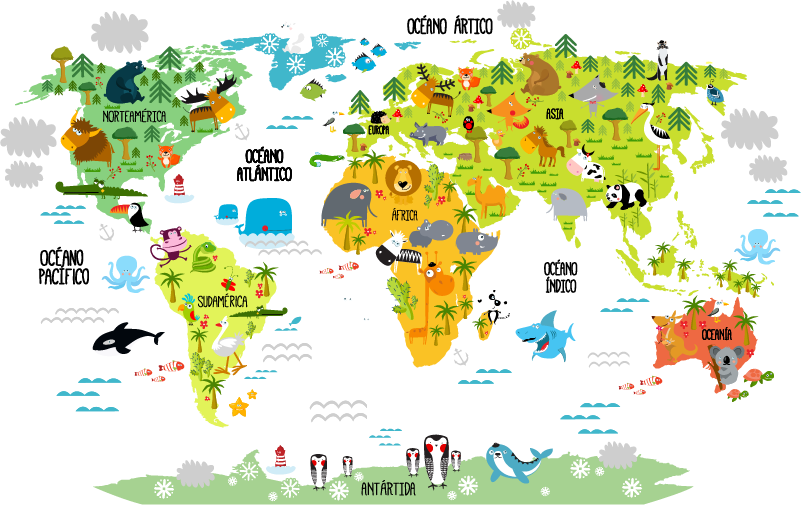 Vinilo mapa mundi infantil vinilo infantil de tela mapamundi animal neutro with vinilo mapa - Vinilo mapamundi infantil ...