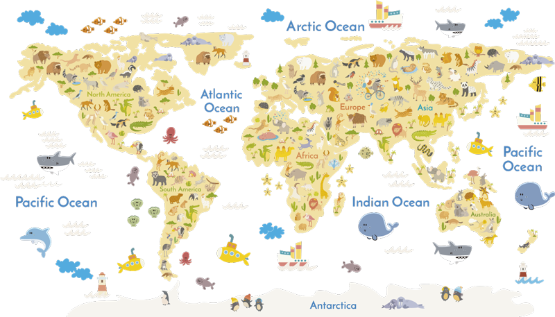 TenStickers. Wild Animal World Map Wall Sticker. A creative kids world map decal that shows the wild animals from around the world and where they come from. Great as a classroom or nursery wall sticker as it is educational.