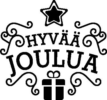 Tenstickers. Tekstitarra Hyvää Joulua. Haluatko toivottaa ihmiselle hyvää joulua? Tämä tarra on oiva siihen. Tarrassa on lahjapaketti ja tähti, sekä siinä lukee hyvää joulua.
