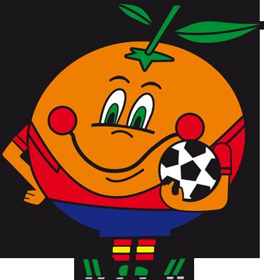 TenVinilo. Vinilo infantil Naranjito mundial 82. Ilustración de Naranjito, mascota del mundial de fútbol de España en 1982. Pegatina de serie de televisión de dibujos animados.