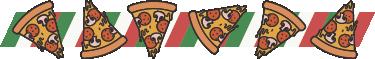 TenStickers. Autocolante decorativo mural pizza. Autocolante decorativo com um mural alusivo à pizza italiana. Se é um amante de pizza temos este autocolante decorativo para si.