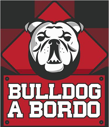 TenStickers. Adesivo cane Bulldog a bordo. Adesivo cane Bulldog a bordo, ottimo da applicare sulla vostra auto per avvisare che è presente a bordo il migliore amico dell'uomo.