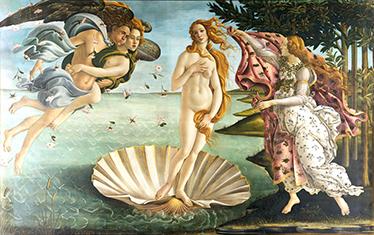 TenStickers. Laptopsticker Venus Botticelli. Een prachtige laptopsticker met het beroemde kunstwerk van de Italiaanse kunstschilder Sandro Botticelli, genaamd 'de geboorte van Venus'.
