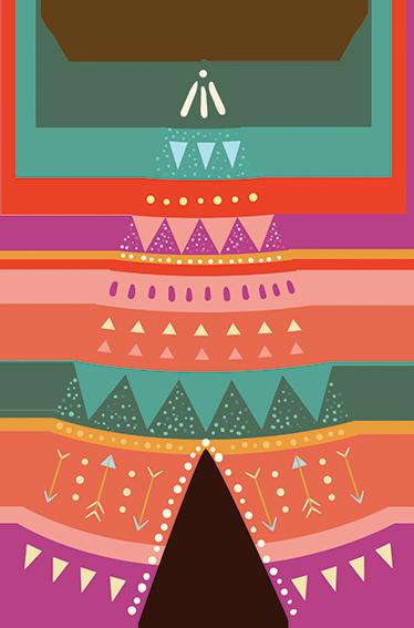 TenStickers. Autocolante infantil tenda de índio. Autocolante decorativo para quarto infantil com uma tenda de índio super colorida e divertida. Um lugar onde impera a imaginação.