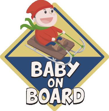 TenVinilo. Adhesivo trineo baby on board. Pegatinas bebé a bordo en inglés con el dibujo de un niño disfrutando de una bajada en trineo, pensado para familias aficionadas a la nieve.