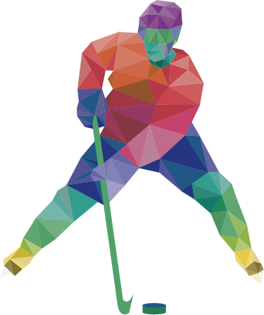 TENSTICKERS. 多角形のホッケー選手の壁の装飾. ホッケー選手のプロフィールをモダンに表現したスポーツウォールステッカー。鮮やかな色のさまざまな幾何学的形状で構成されています。