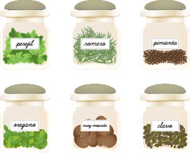 TenVinilo. Vinilo decorativo cocinas plantas aromáticas. Colección de pegatinas con una ilustración de distintos botes con especias y hojas que sirven para aderezar tu comida.