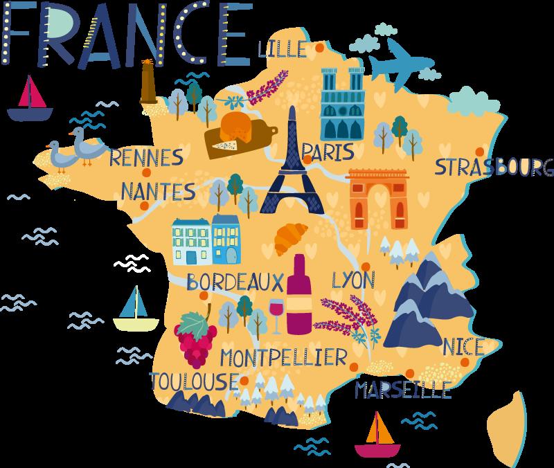 TenStickers. Sticker carte de France villes et dessins. Magnifique carte de la France avec le nom des plus grandes villes du pays et les dessins de monuments et specialites culinaires qui la composent.