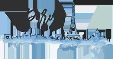 TenStickers. Sticker Paris horizon aquarelle. Sticker de l'horizon de Paris avec une vue sur la célèbre Tour Eiffel et l'Arc de triomphe au design original à la couleur bleue aquarelle