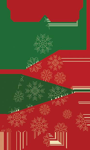 TenVinilo. Vinilo decorativo árbol triangular. Vinilos decorativos Navidad con el perfil de un abeto con una textura de copos de nieve, colores rojo y verde y una estrella en la punta.