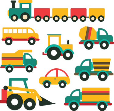 TenStickers. Vehicles cartoon wall sticker. A sheet of cartoon stickers of vehicles in various sizes, which you can arrange as you prefer on the wall of any children's room.