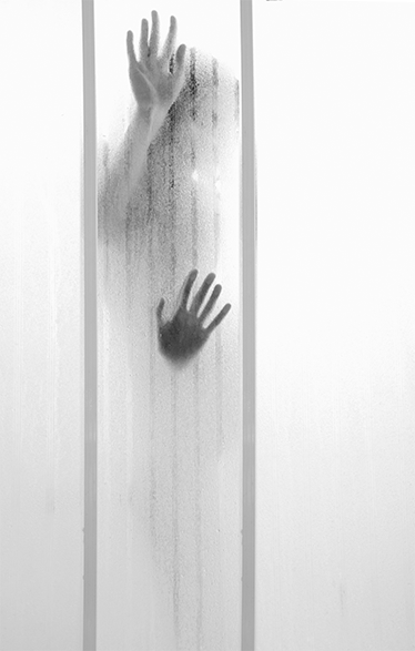 TenStickers. Recessed Figure Shower Sticker. Shower wall sticker with a recessed figure! Make your bathroom the scene of a horror movie scene by decorating your shower screen with this sticker!