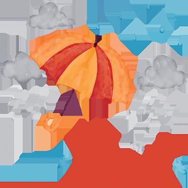 TenStickers. Sticker personnalisé parapluie. Sticker personnalisé coloré représentant une scène de pluie. Parfait pour décorer la chambre de votre enfant avec son prénom.