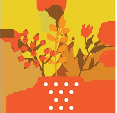 TenStickers. Sticker bloemen pot herfst. Mooie herfst raamsticker of muursticker van een pot bloemen in herfstachtige kleuren. Voor een heerlijke herfstsfeer in uw huis, winkel of kantoor.