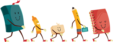 TenStickers. Sticker enfant rentrée des classes. Sticker enfant rentrée des classes. Sticker au design original de personnages en forme de crayon, gomme, cahier en route pour la rentrée des classes.