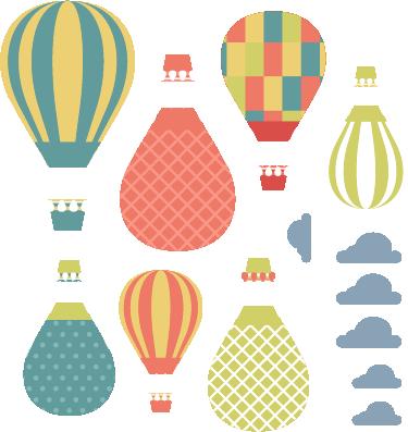 TENSTICKERS. 気球と雲の漫画の壁のステッカー. カラフルな気球と雲が描かれた面白いキッズウォールステッカーをご覧ください。あなたの壁にぴったり合うようにサイズをカスタマイズできます!