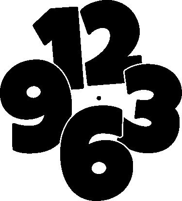 Klok sticker grote cijfers