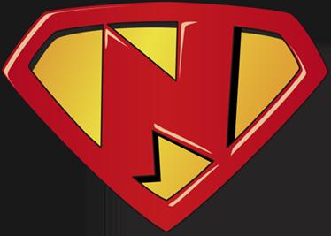 TenStickers. Adesivo infantile super N. Adesivo murale infantile raffigurante il tipico logo da supereroe personalizzato con la lettera N, perfetto per decorare la camera dei vostri figli.