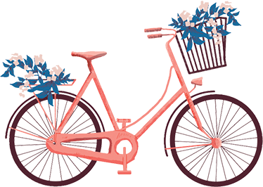 TenStickers. Floral bicycle vintage wall sticker. Retro bicycle wall sticker with a nice illustration of your favorite vehicle in pink tones and bouquets of blue flowers.