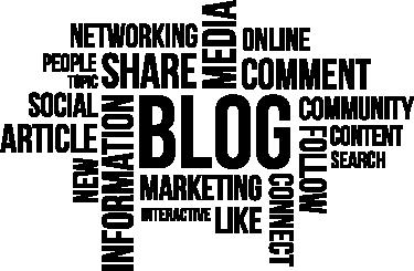 TENSTICKERS. ブログの概念の壁の装飾. ブログの世界とインターネットソーシャルネットワークに関連する英語の単語の雲で構成されたオフィスウォールステッカー。除去後の残留物ゼロ。