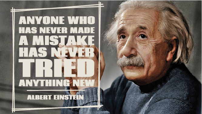 TenStickers. Mistakes Einstein quote decal. Famous quotes wall sticker with the image of the famous scientist Albert Einstein, along with one of his most famous quotes in English.