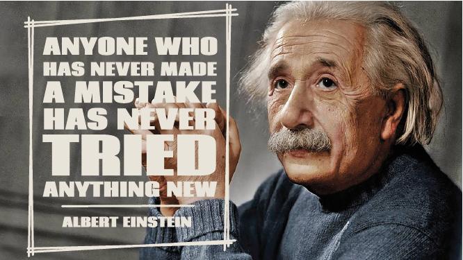TenStickers. λάθη einstein παραθέτω decal. διάσημο αυτοκόλλητο τοίχου με την εικόνα του διάσημου επιστήμονα albert einstein, μαζί με ένα από τα πιο διάσημα αποσπάσματα του στα αγγλικά.