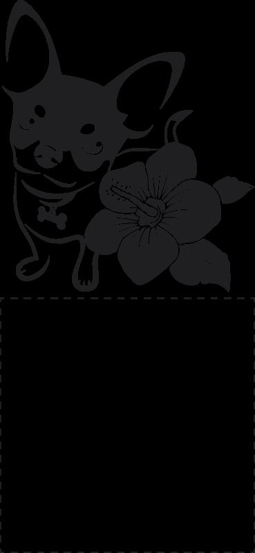 TenStickers. Schakelaar sticker chihuahua bloem. Een stijlvolle schakelaar sticker met een chihuahua en een bloem. Een muursticker om die saaie schakelaar eens op te fleuren.