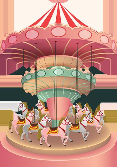 TenStickers. Autocolantes decorativos de circos e feiras Carrossel rosa. Vinil decorativo infantil com o desenho de um carrossel em tons de rosa, ideal para personalizar o quarto ou a casa de banho dos seus filhos.