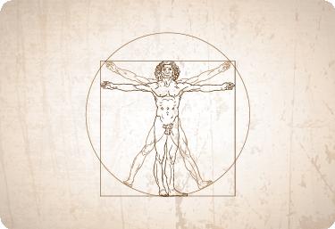 TenStickers. Laptop sticker Vitruviusman. Fraaie laptop skin van de beroemde Vitruviusman, getekend door Leonardo Da Vinci. Laptop accessoires met een kunstzinnig en historisch karakter.