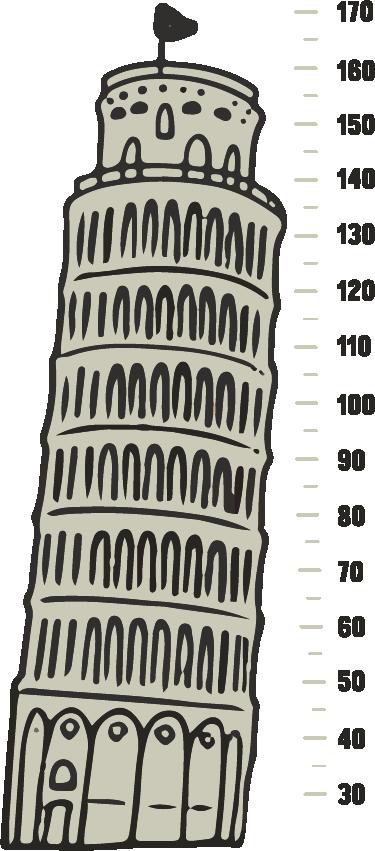 TenStickers. Muursticker groeimeter toren van Pisa. Originele groeimeter muursticker om de groei van uw kind bij te houden en tegelijkertijd de kamer te decoreren met wanddecoratie.