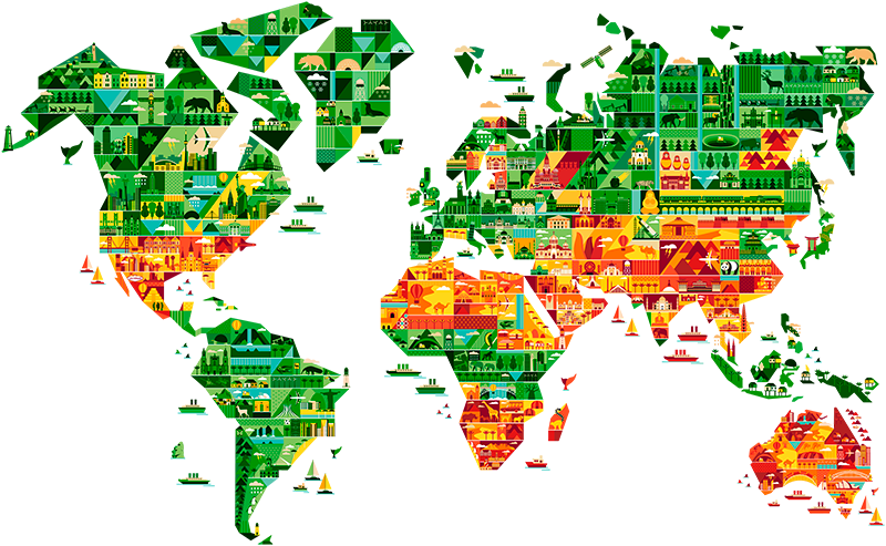 TenVinilo. Vinilo decorativo mapamundi geométrico. Espectacular vinilo mapa del mundo con el perfil de los continentes rellenos de figuras que recrean los lugares más emblemáticos de cada lugar.