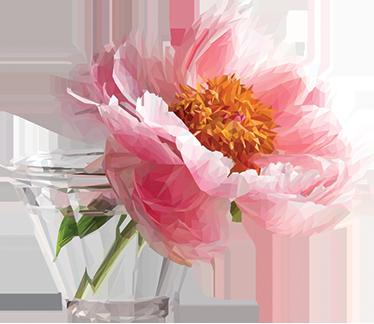 TenStickers. Autocolante com jarro de flores. Autocolante de parede com uma imagem fantástica de uma flor de cor rosa para enfeitar as suas aborrecidas paredes para dar-lhe uma alegria.