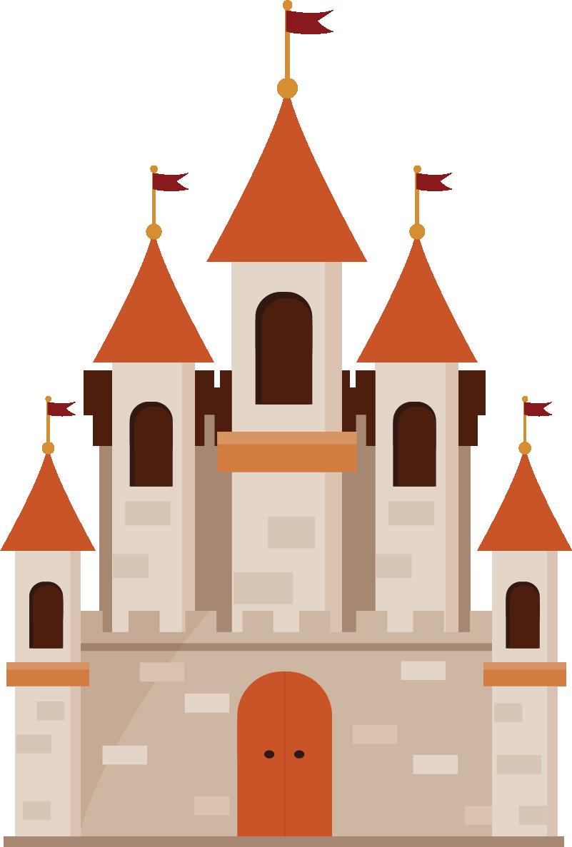 TENSTICKERS. 素朴な城のスケッチの子供ステッカー. キッズウォールステッカー-素朴な城のイラストをスケッチします。子供向けのベッドルームやエリアの装飾に最適です。