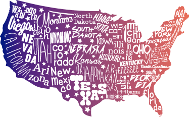 TenStickers. 美国地图笔记本电脑贴纸. 装饰美国地图笔记本电脑贴纸,设计有写在地图上的状态。用这张美丽的美国地图贴纸装饰您的mac或pc。