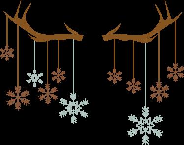 TenStickers. Rensdyr gevir jule wallsticker. Flot jule dekoration klistermærke med motiv af rensdyr gevir og snufnug. Bring hygge og julestemning ind i hjemmet med denne jule sticker.
