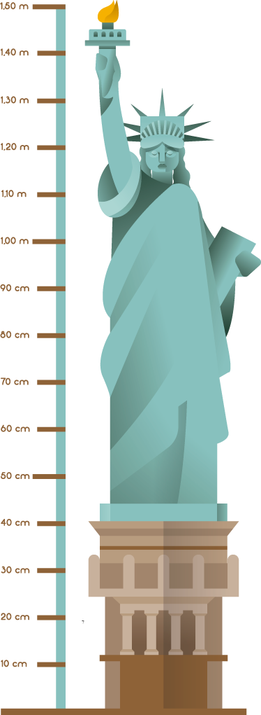 TENSTICKERS. 自由の女神像. 自由の女神像のウォールステッカー。私たちの国の最も有名なモニュメントの1つである自由の女神像の高さチャート。