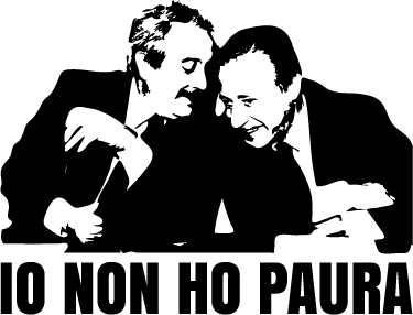 TenStickers. Adesivo silhouette Falcone e Borsellino. Adesivo murale raffigurante due dei più importanti membri della guerra alla mafia, Falcone e Borsellino, che hanno dato la loro vita per questa causa.