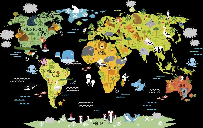 TenVinilo. Vinilo mapamundi fauna catalán. Vinilos infantiles en catalán con el dibujo de un mapa del mundo asociado con la fauna autóctona de cada lugar.