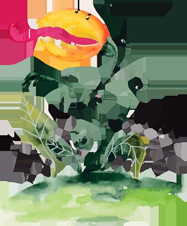 TenStickers. Sticker dessin plante carnivore. Décorez votre pièce avec ce sticker mural représentant une plante carnivore. Elle est orange, rouge et verte.