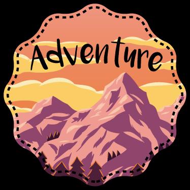 TenStickers. Autocolante para parede aventura. Para os aventureiros lá de casa temos o autocolante para parede ideal para vocês com esta imagem redonda de uma montanha a dizer ''aventura''.