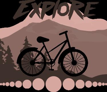 TenStickers. Sticker montagna esplorazione. Adesivo da parete per appassionati di ciclismo e alpinismo con il disegno di un paesaggio montuoso e il profilo ritagliato di una bicicletta.