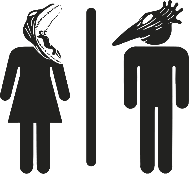 TenStickers. Deursticker toilet Bitelchus. Decoratieve deursticker met het bekende pictogram dat de toiletten markeert. De sticker beeldt twee van de personages uit, uit de film Bitelchus.