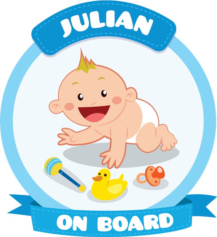 TenStickers. Baby on Board for Cars Car Sticker. An original and customizable sticker with your child's first name to warn other road users that you are not traveling alone.