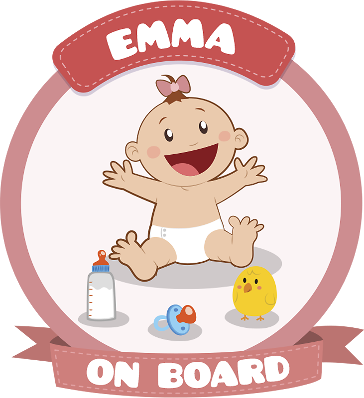 TenStickers. Baby on Board Girl Car Sticker. An original and customizable sticker with your child's name to warn other road users that you are not traveling alone.