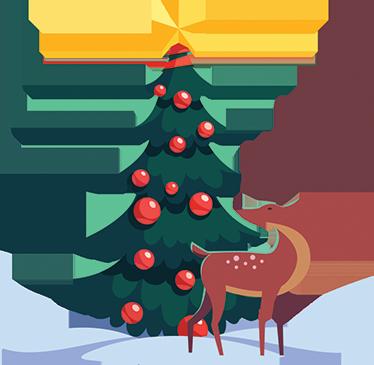 TenVinilo. Vinilo decorativo escena navideña. Vinilos Navidad con el dibujo de un paisaje de invierno, un suelo nevado, un abeto decorado y un reno o ciervo a los pies del mismo.