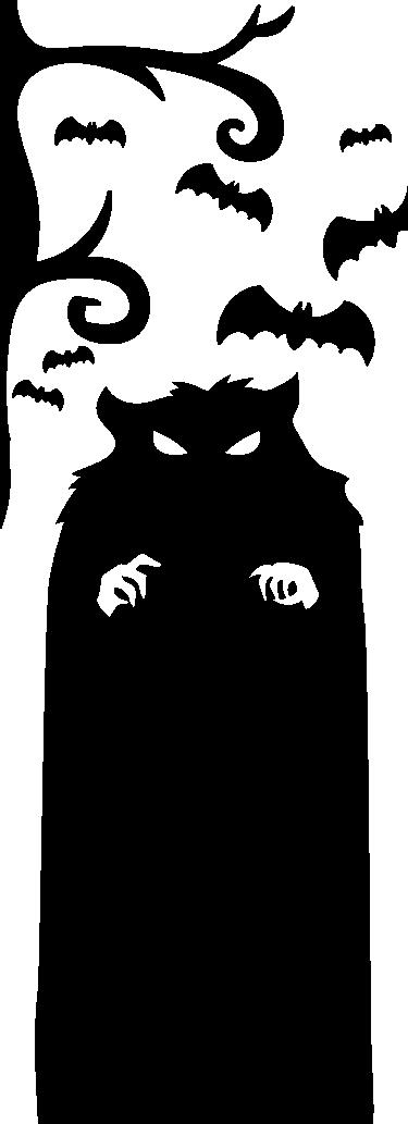 TenVinilo. Vinilos Halloween monstruo de la puerta. Vinilos para puerta con un terrorífico monstruo que custodia la habitación rodeado por sus fieles murciélagos.