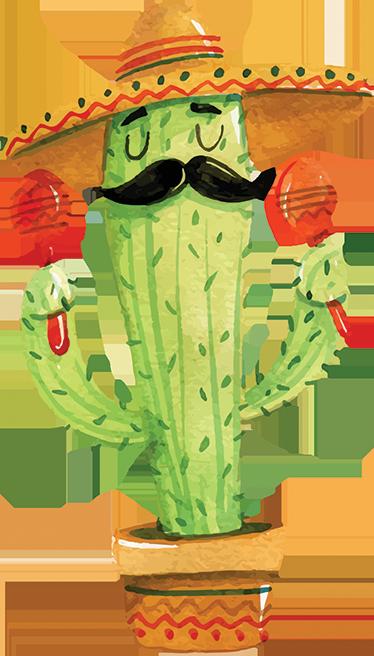TenStickers. Muursticker cactus Mexicaans. Mooie muursticker met een grappige tekening van een cactusplant gekleed als een Mexicaanse mariachi, met de typische sombrero, maracas en snor.