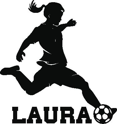 TenStickers. Naamsticker voetbal meisje. Gepersonaliseerde sticker voor de decoratie van een echte voetbalmeisje. Ideaal om als muursticker of deursticker de meisjeskamer te decoreren.