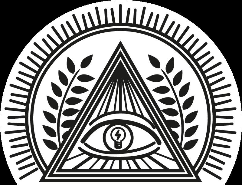 TenStickers. Schakelaarsticker oog licht. Schakelaarsticker met de afbeelding van het Oog van Voorzienigheid, ook bekend als Delta Luminoso, in wiens iris een gloeilamp is.