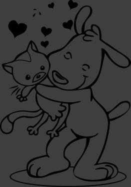 TenStickers. Sticker kinderkamer hond knuffelt kat. Een leuke en schattige muursticker van een tekening van een hond dat een stevige knuffel geeft aan zijn kat met veel liefde en hartjes.